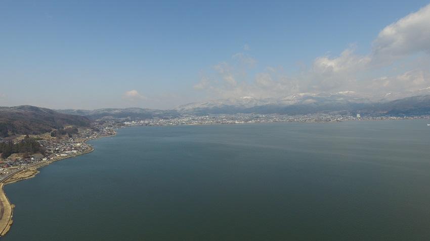 諏訪湖護岸工事 ドローン空撮1