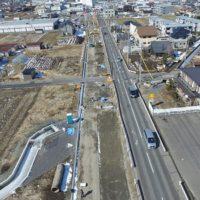 道路工事現場空撮